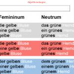 نهايات الصفات / تعليم اللغة الالمانية