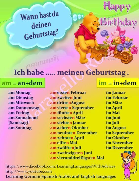 كيف تحدد عيد ميلادك بالالمانية ؟