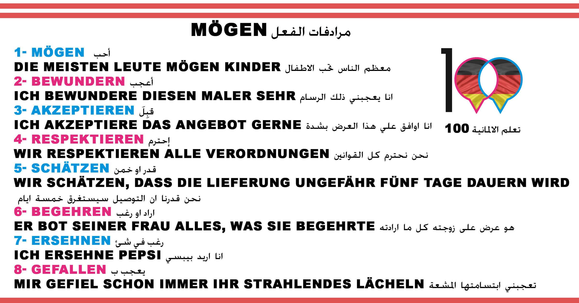 مرادفات الفعل Mögen - تعلم اللغة الالمانية mögen 1 تعلم اللغة الالمانية