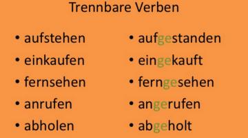 Übung : Perfekt mit trennbaren Verben
